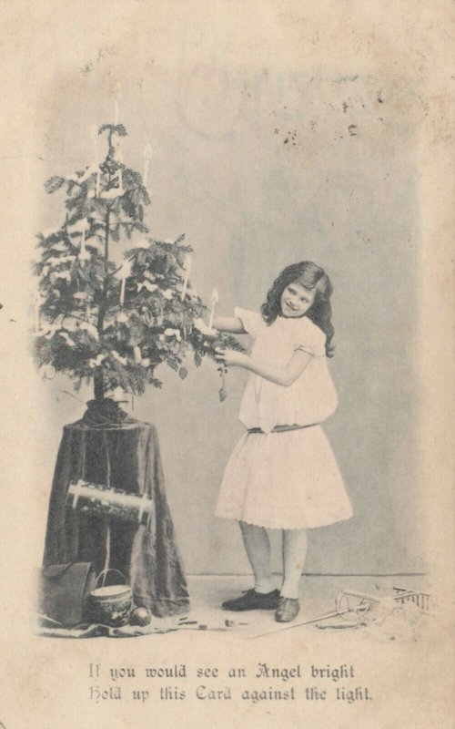 Girl decorates a CHRISTMAS Tree, 1909; Hold-to-Light, HTL Happy Christmas, Angel