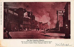 The San Francisco, CA, Disaster, Earthquake & Fire, Early Postcard, Used in 1906