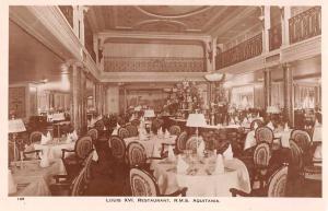 RMS Auitania Steamship Interior Louis XVI Restaurant Real Photo Postcard J75825