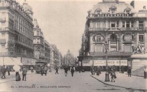 BRUXELLES BELGIUM BOULEVARD ANSPACH~BIERRE ARTOIS SIGN~DOBRECOURT POSTCARD 1900