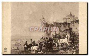 Old Postcard Wouverman The bathtub Horse