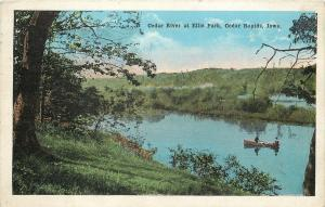 Cedar Rapids Iowa Couple Rowing on Cedar River @ Ellis Park~Summer~1927 Postcard