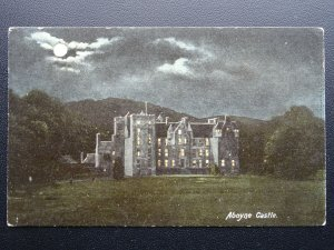 Scotland Aberdeenshire ABOYNE CASTLE by Moonlight c1906 Old Postcard by Hartmann