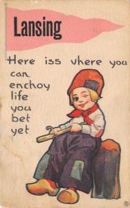 You Can Enjoy Life in Lansing Michigan~You Bet~Boy Whittles~1914 Pennant PC