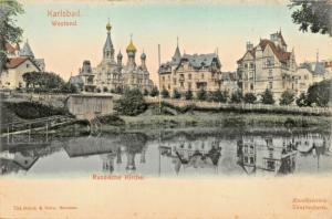 KARLSBAD CZECH REPUBLIC~RUSSISCHE KIRCHE~BRUCK & SOHN COLOR 1900s PHOTO POSTCARD