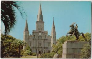 The St. Louis Cathedral and Jackson Memorial, New Orleans, LA, unused Postcard
