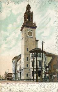 Jacksonville Florida~Post Office Building Dwarfs House Across Street~1907 PC