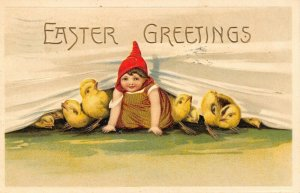 Easter~Chicks & Girl in Red Pointy Hat Peeks Out From Under Curtain~Emboss~1910