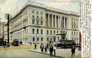 MD - Baltimore. Court House, Trolleys, Street Scene