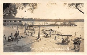 F51/ Chippewa Lake Medina Ohio RPPC Postcard 1942 Beach and Pier 4
