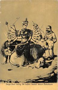 BR73402 durga devil kiling the buffalo headed demon mahishasur postcard   india