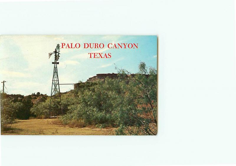Vintage Postcard Windmill Palo Duro Canyon Texas Paul Greens Texas  # 3222