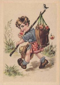 Boy walking and eating an apple, bag on stick dropping apples, bird sings on ...
