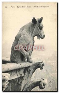 Postcard Old Paris Church Notre Dame Detail of the Sculptures Chimere Chevre
