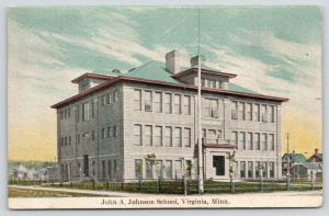 Virginia Minnesota~John A Johnson School~Flag Pole~Neighborhood Homes~1909