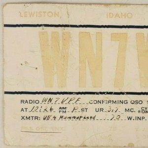 WN7VIO Lewiston Idaho 1954 Amateur Ham Radio Station D'Appel Carte Postale E19