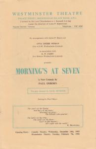 Mornings At Seven Comedy Paul Osborn London Theatre Programme