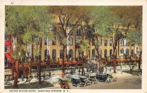 Saratoga Springs New York~United States Hotel~Vintage Cars~People on Veranda~'27
