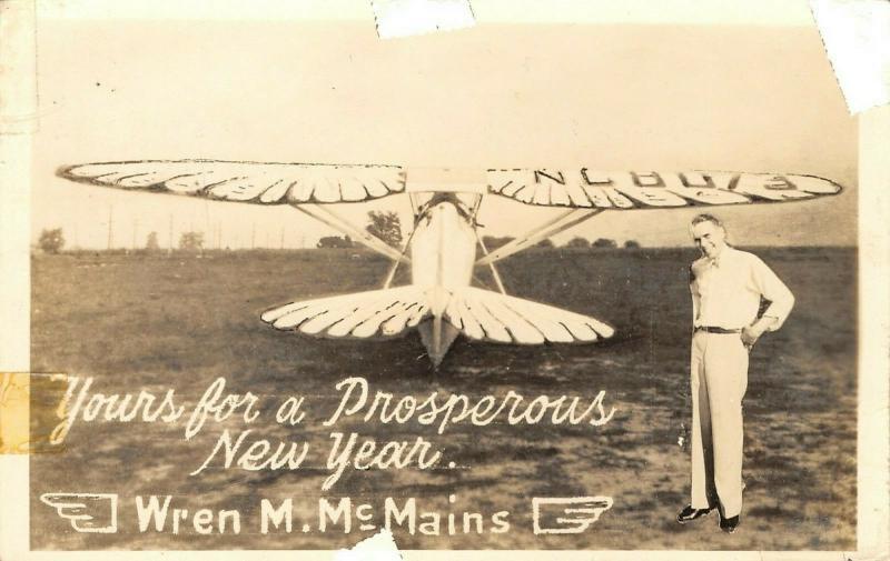 Captain Wren McMains~Airplane Pilot~New Year Greet~Killed Crash 1959~1940 RPPC