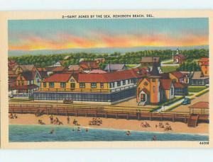 Unused Linen ST. AGNES CHURCH Rehoboth Beach Delaware DE L4617@