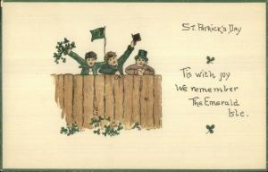 St. Patrick's Day Series 7016 Irish Boys Over Fence c1910 Postcard