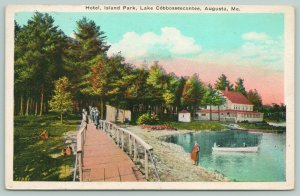 Augusta Maine~Island Park Hotel~Lake Cobbosseecontee Shore~Guests on Bridge~1926