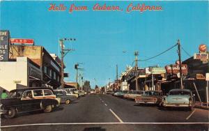 Auburn California~Street Scene~Shoe Repair~Jewelers~Ward~Rexall~50s & 60s Cars
