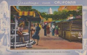 Greetings From California Los Angeles Olvera Street Blue Border 1943