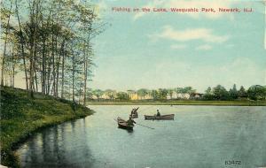 Newark New Jersey~Weequahic Park~3 Boats Fishing on the Lake~Same Spot~1912 PC