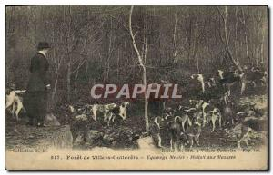 Old Postcard Foret De Villers Cottereis Crew Menier Hallali At Mazures Huntin...