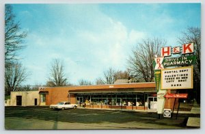 Galion OH Huguenin H&K Drive-In Pharmacy~Brut & Coty Aftershaves~1960s Sedan PC