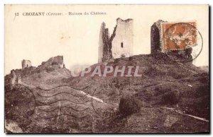 Old Postcard Crozant Ruins Du Chateau
