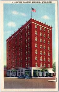 Kenosha, Wisconsin Postcard HOTEL DAYTON Street View Curteich Linen 1940s Unused