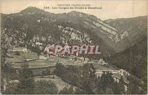 Old Postcard Frontiere Franco 382 Swiss gorges Doubs has blaufond