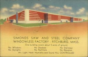 Linen Advertising - Fitchburg MA Simonds Saw & Steel Co Windowless Factory PC