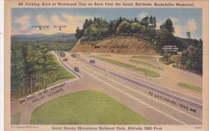Tennesse Smorky Mountain National Parking Area At Newfound Gap As Seen From T...