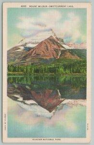Glacier National Park Washington~Mount Wilbur Swiftcurrent Lake~1940s Linen