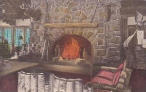 New York Bear Mountain Park Lobby Fireplace Bear Mountain Inn Handcolored Alb...