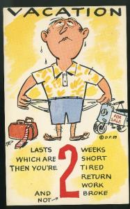 Humor Comic Vacation Lasts 2 weeks which are 2 short Vintage 1959 Postcard