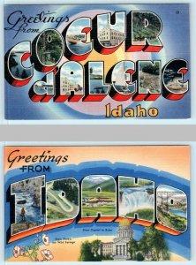 2 Large Letter Linens COEUR d'ALENE, IDAHO & IDAHO c1940s Tichnor Postcard