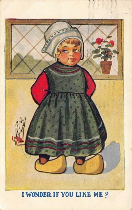 Dutch Girl 1910 Postcard Wooden Shoes toy I Wonder If You Like Me? Romance