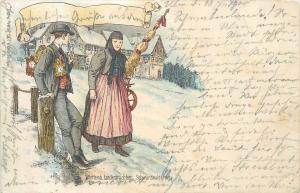 Litho Carl Wahler 1900 C. Schmauk Germany Schwarzwald Country Folk Costumes pipe