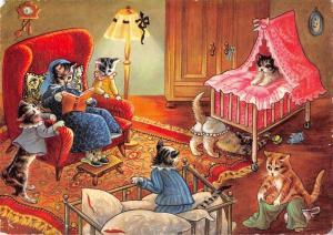 B98727 cat chat reading human atittude postcard   animaux animals