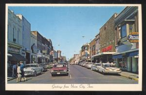 UNION CITY TENNESSEE DOWNTOWN STREET SCENE VINTAGE POSTCARD OLD CARS