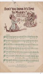 Song Card Don't You Think It's Time To Marry 1908