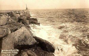 C.1910 RPPC Breakwater at Crescent City, California Postcard P128