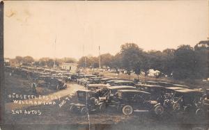 Wellman Iowa~Old Settlers Day~240 Vintage Autos Parked~Crowd~Aug 7 1912 RPPC