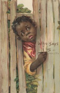 Child'S arm & head thru fence writes, Who says i is a VALENTINE,1907; TUCK 101