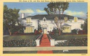 Mr. & Mrs. Jack Benny Home, Beverly Hills, CA Comedian c1940s Vintage Postcard