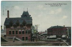 Somersworth, New Hampshire, View of The First National Bank & Market Street 1913